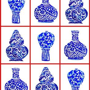 porcelaine chinoise pots rouge