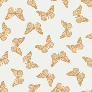 SMALL butterfly fabric - girl butterfly fabric, rust baby fabric, earth toned fabric - oak leaf