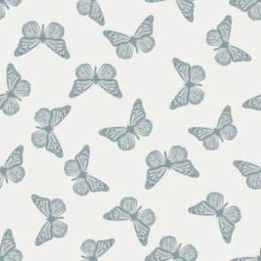 SMALL butterfly fabric - girl butterfly fabric, rust baby fabric, earth toned fabric - slate sfx4408