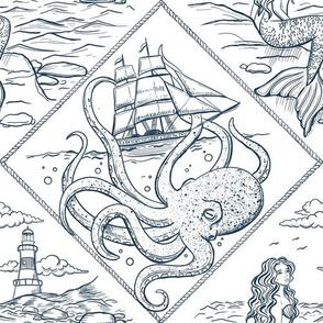 Underwater world: Mermaid and Kraken