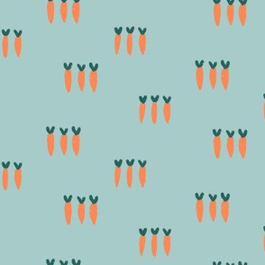 Small Carrots on Teal Blue Green