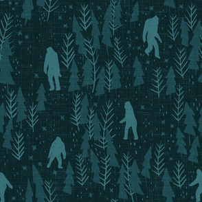 Large scale- Mysterious Big Foot - Dark teal