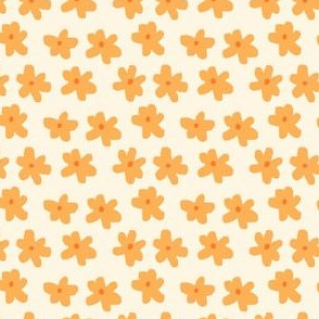 Small Buttercup Dainty Bright Golden Yellow Floral on Light Cream