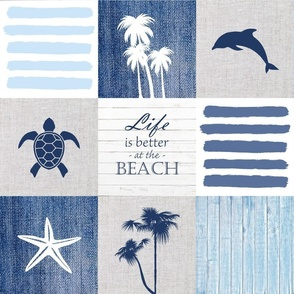 Life is better at the beach patchwork blanket