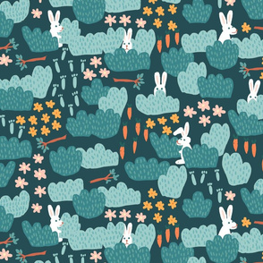 White Bunnies hiding in the bushes on dark teal with carrots sticks flowers