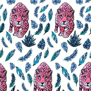 Pink leopard jungle with blue palm leaves