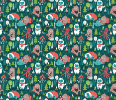 Small scale // Besties // green background white Yeti brown Bigfoot aqua yellow green and teal pine trees red and coral details