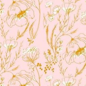 Line drawn floral - pink & ochre