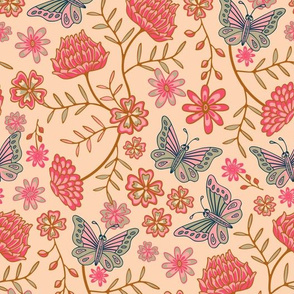 Darling Butterfly and Floral in Fuchsia Pink Blue Blush Brown - SMALL-Scale - UnBlink Studio by Jackie Tahara