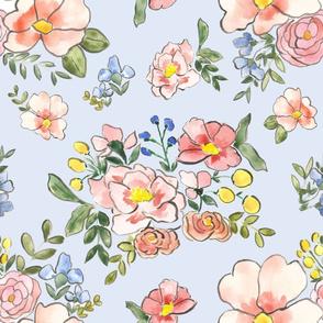 cottage florals on sky blue