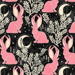 Jackalope - large - black & pink