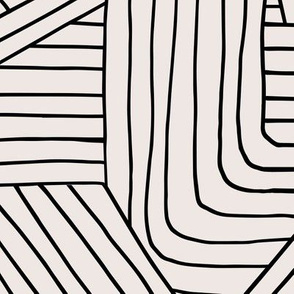Little Maze stripes minimal Scandinavian grid style trend abstract geometric print monochrome off white black JUMBO