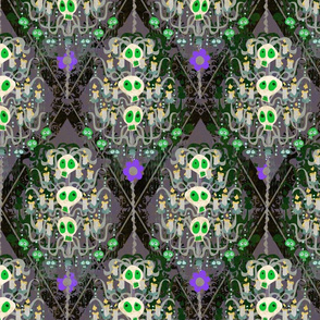 Sasquatch's Parlor Wallpaper -- Big Foot's Classy Victorian Horror themed Skull Wallpaper featuring skeleton candelabra and candles -- In green, purple, black