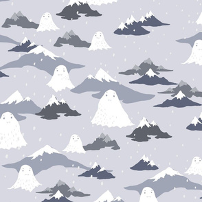Snowmen in snowy mountains