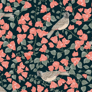 Bougainvillea and Bulbul at Twilight- Coral Salmon Flowers, Grey Green Leaves, Tan Desert Sand Grey Birds on Dark Cyan