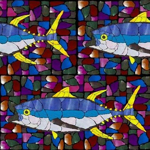 Mosaic Glass Tuna in Dark Jewel
