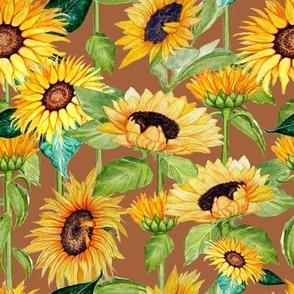 sunflower floral watercolor  on stalks bronze