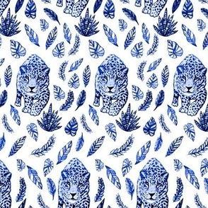 leopard blue and white fabric and wallpaper