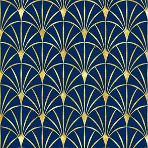 Art Deco cobalt blue thin gold fans Wallpaper Fabric