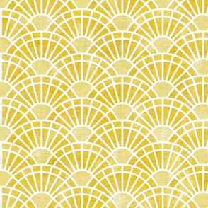 Golden Yellow Sun- Endless Summer-Art Deco Sunshine Large- Jumbo Wallpaper- Neo Art Deco