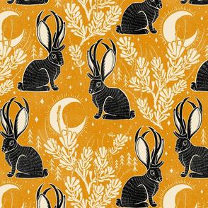 Jackalope - large - marigold & black