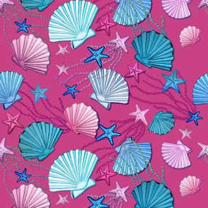watercolor sea shells on fuchsia pink