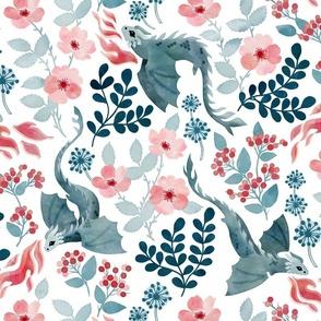 Dragons pastel floral