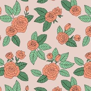 Romantic bohemian rose garden english roses nursery design vintage orange seventies muted green blush