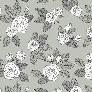 Romantic bohemian rose garden english roses nursery design mist green gray white