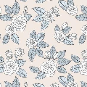 Romantic bohemian rose garden english roses nursery design soft blush blue gray white