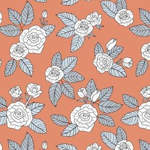 Romantic bohemian rose garden english roses nursery design scandinavian burnt orange gray neutral