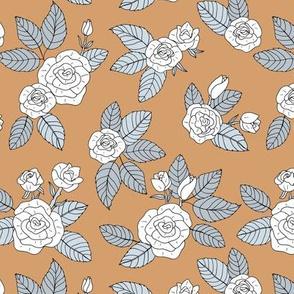 Romantic bohemian rose garden english roses nursery design scandinavian mustard ochre yellow white gray