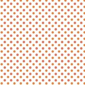 Papaya polka dot on white // coral,  orange and white polka dot