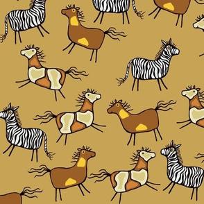 Horses and zebra, ocher background