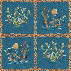 Tiled flowers by the river dark blue