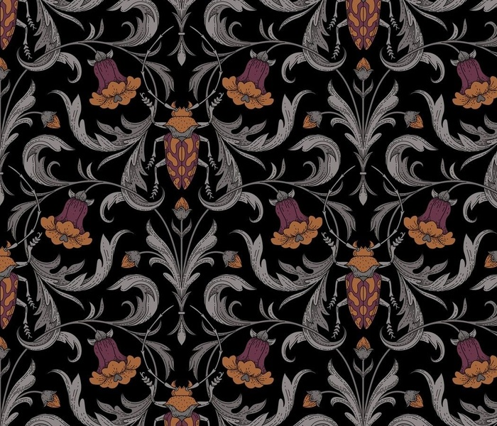 Victorian bellflowers and bugs black