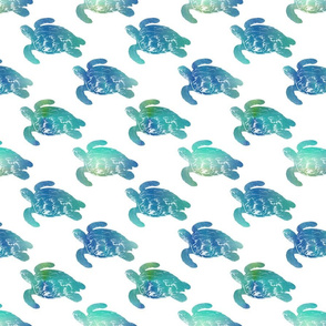 Sea Turtle Swimming, Blue, aqua, and green on white
