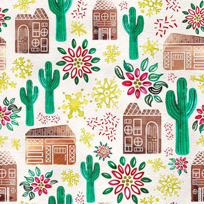 Jumbo Wallpaper Watercolor Desert Gingerbread Village // © ZirkusDesign Holiday Houses with Saguaro Cacti, Poinsetta, Snowflakes, Glitter // Mid-Century Modern, Retro, Vintage Christmas
