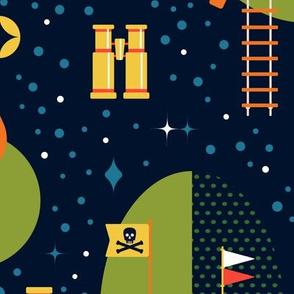 Jumbo Colorful Midnight Tree House Adventure Wallpaper // © ZirkusDesign  Stargazing in the Woods // Trees, Owls, Lanterns, Mid-Century Modern, Architecture, Telescopes, Binoculars, Pirate Flags, Forest, Rope Ladder, Tire Swing, Slide, Stars, Planets, Spy