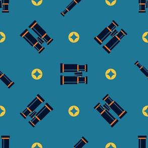Blue Binoculars // © ZirkusDesign Geometric Layout Wallpaper // Orange, Blue, Yellow, Camping, Hunting, Birding, Adventure, Tree House, Outdoor, Life