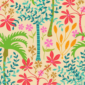 Tropicalia - Tropical Botanical with Palm Trees and Plants - Bright Pink Green Blue Orange Yellow Red Brown - LARGE-Scale - UnBlink Studio by Jackie Tahara