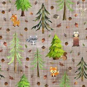 woodland brown linen