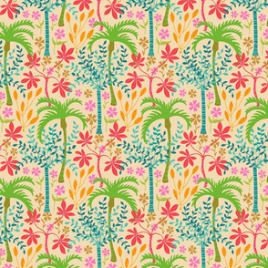 Tropicalia - Tropical Botanical with Palm Trees and Plants - Bright Pink Green Blue Orange Yellow Red Brown - SMALL-Scale - UnBlink Studio by Jackie Tahara