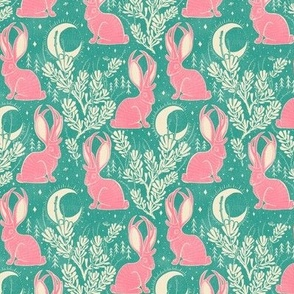 Jackalope - small - turquoise & pink