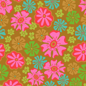 Lush Tropical Big Bloom Floral in Bright Pink Green Blue Red Brown -SMALL-Scale - UnBlink Studio by Jackie Tahara