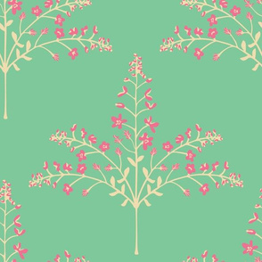 Pashmina - Delicate Floral Grasses in Pink Cream Turquoise - LARGE-Scale - UnBlink Studio by Jackie Tahara