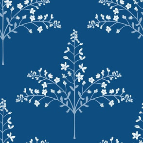 Pashmina - Delicate Floral Grasses in White and Classic Indigo Blue -LARGE-Scale - UnBlink Studio by Jackie Tahara