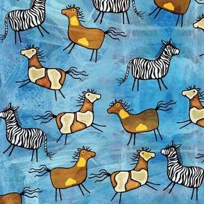 Horses and zebra, blue background