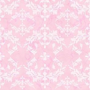 Medium Light Bubblegum Pink Rococo Leaves and Swirls