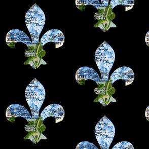 French Fleur de Lis Blue Hydrangea